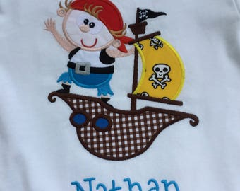 Pirate Boy on a Pirate Ship Personalized Tshirt!