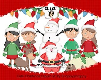 Christmas Clipart, Digital Scrapbooking, Christmas Characters,  CU4CU