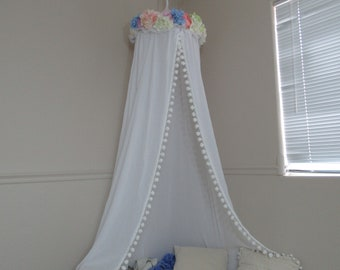 Flower crown play canopy white cotton/ hanging tent/ hanging canopy