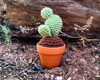 Prickly Pear Cactus w/ Terra Cotta Pot, Crochet Cactus, Crochet Succulent, Fake Cactus, Crocheted Cactus, Cactus Pin Cushion