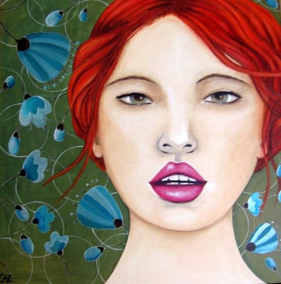 tableau portrait femme rousse peinture sur toile visage