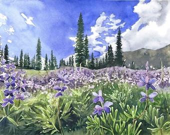Violet meadow  - ORIGINAL WATERCOLOR PAINTING mountains nature landscape