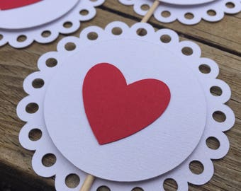 Lacy Heart Cupcake Toppers