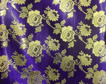 Purple Jaquard Brocade Gold Flower Print