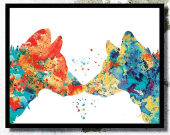 Wolf Watercolor Art Print Animal love painting Couple Wolf poster Wolf painting Wolf wall art boy room decor Animal home art Wolf print gift