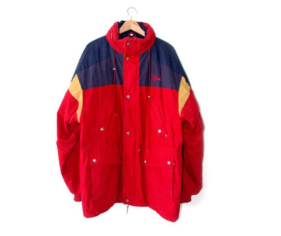 ski jacket, red jacket, winter jacket, retro jacket, 80s jacket