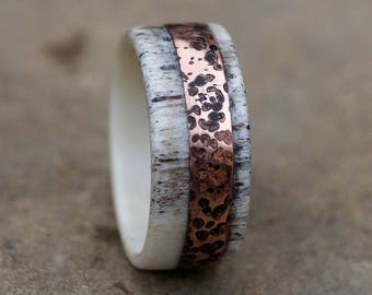 Deer Antler Ring, Copper Ring, Rustic Copper Ring, Wedding Ring