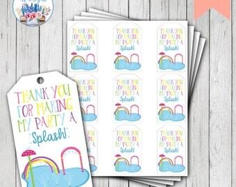 Splish Splash Favor Tags, Splish Splash Birthday, Splash Pad Party, Splash Pad Birthday, Splash Birthday