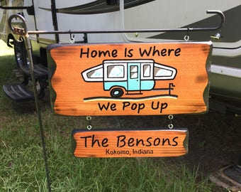 Pop Up Camper Sign with name sign