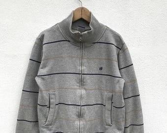 "20% OFF Vintage Hang Ten Embroidery Logo Stripe Zipper Sweater / Hang Ten Usa / Surfing Hawaiian Shirt / Pullover / Sweater / Armpit 19.5"""
