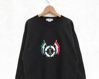 20% OFF Vintage YSL YvesSaintLauren  Cross Flag Sweatshirt,YSL Big Logo,Ysl Spell Out,Big Logo Sweater