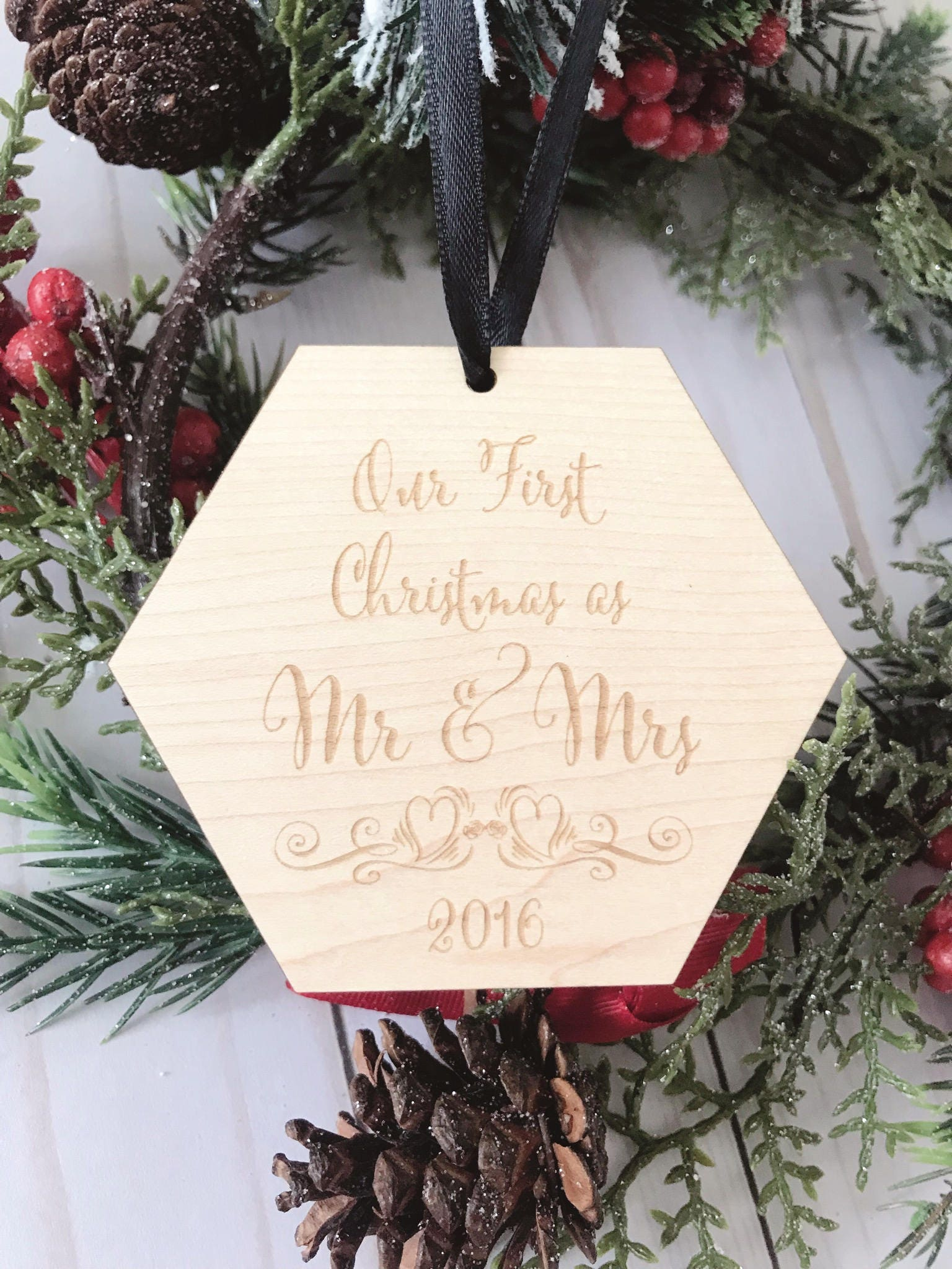 our first christmas as mr and mrs ornament personalized wood