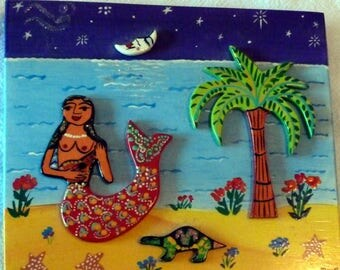 VINTAGE - Mexican Mermaid Wall Plaque Painting and Carved Wood