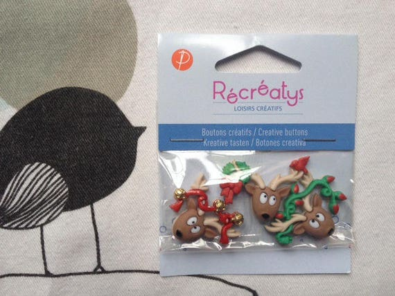 BUTTONS decorative Christmas Moose - Recreatys