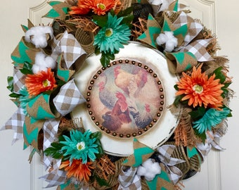 Farmhouse Wreath, Rustic Weathered Wreath, Chicken Wreath, Rooster Wreath, Everyday Wreath, Turquoise & Coral Floral Wreath, Burlap Wreath