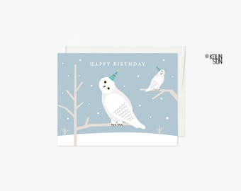 Snowy Owl birthday Card with white envelope, 4.25x5.5 inches