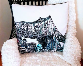 Art print - The bridge in Montreal - bridge FineArt pillow cover - Pillow case bridge in the original painting by Mélanie Bernard MTL