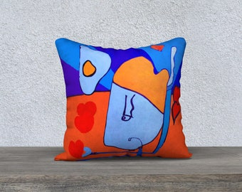 Yoga Man in love In Love Art Print pillow cover - Pillow box and Collection Jp Mélanie Bernard