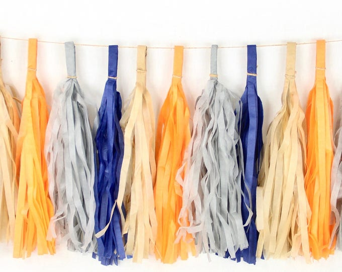 Wild One Tassels, Tissue Tassels, Tassel Banner, Birthday Party Decor, DIY Tassels, Boy Birthday, Woodland, Rustic, Baby Shower, Beige Blue
