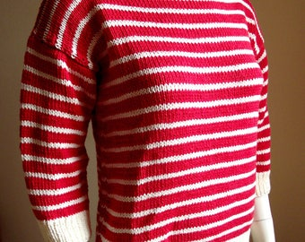 Navy sweater, T shape with 3/4 sleeves, stripes, red and white striped. 38/40.