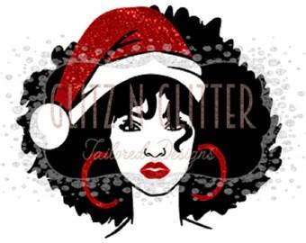 Big Hair Santa Hat Lady w/ or w/o Hat SVG