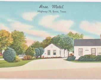 Rose Motel ~ Highway 75  Ennis Texas   Vintage Linen Postcard
