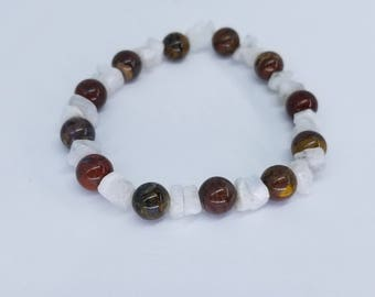 Natural Petersite Rainbow Moonstone Elastic Bracelet Healing Meditation Zen Yoga Reiki Crystals
