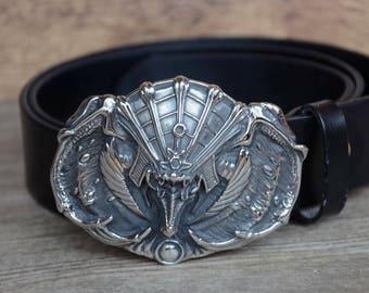 Mens Belt/Leather Belt/Black/Top Grain Cowskin Belt/Steel Buckle/Father's Gift