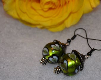Green Glass Earrings with Heart accents