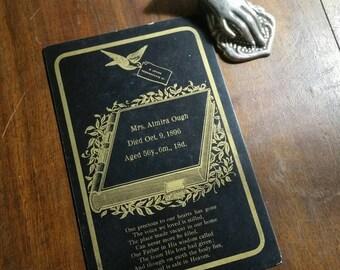 victorian memorial funeral card poem october 1896.