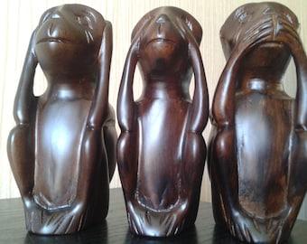 Three Monkeys Handmade Wood