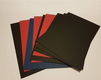 Berkshire picture framing craft matboard 16 1/2 x 11 inches Black Red Blue