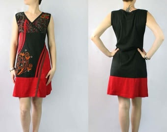 Red & Black Shift Dress