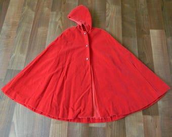 Little Girl's Red Velvety Hooded Caplet, Little Red Riding Hood Velvet Cape, 12 Month - 1T 1 Year Old