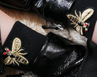 Gold Bee Embroidered Luxury Socks