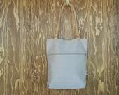 Medium Tote Bag // Light Tan, Zipper Pocket, Magnetic Snap Closure, Leather Handles // Made in Canada