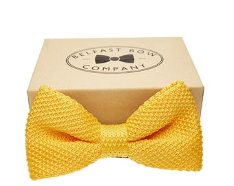 Handmade Knitted Bow Tie in Yellow