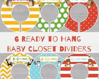 ON SALE - Baby Closet Dividers - Boy Nursery Closet Divider - Woodland Creatures Closet Dividers - Baby Boy Closet Dividers