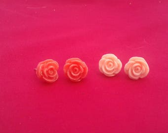 Summer Rose Studs, Peach Accessories, Sparkly Studs, Floral Jewellery, Bridesmaid Gift, Birthday Presents, Summer Trends, Rose Earring,