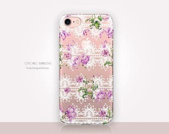 Floral Lace Clear Phone Case - Clear Case - For iPhone 8, 8 Plus, X, iPhone 7 Plus, 7, SE, 5, 6S Plus, 6S,6 Plus, Samsung S8,S8 Plus,