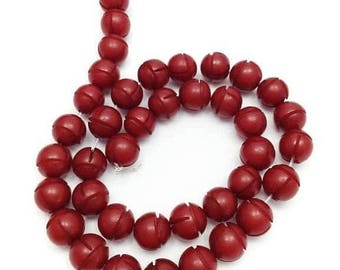 SALE 10% OFF 39 Buri, red, 10mm, 1 line, with carving, 39 units, pearl beads, Buri, beads, seeds, seed beads, natural beads, Amey