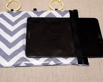 IPhone case, Galaxy tab 4 sleeve, Ipad 3 case, Galaxy Tab 10.1 Case, iPad Air, HANGit™ Padded hanging tablet sleeve Gray Chevron ipad case