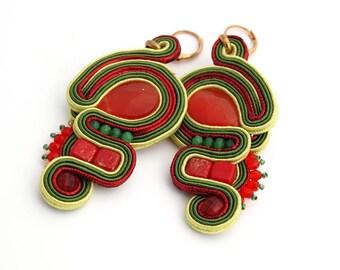 "Green-red, light soutache earrings with red cat""s eye, Hanging earrings,  Soutache Boucles d'Oreilles"