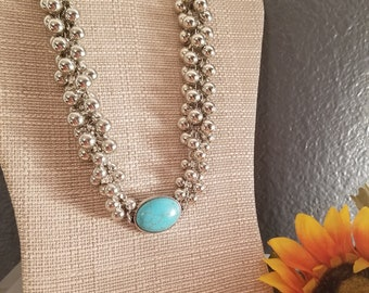 Reconstituted Turquoise with Silver