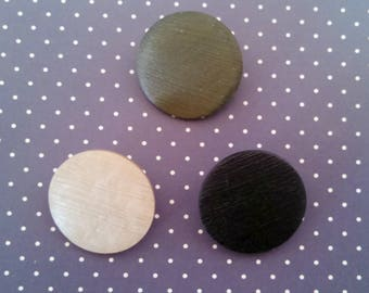 Vintage Buttons, Large Satin Finish Lucite Buttons, Lot of 3, Beige, Black, Olive Green, Shank, 25 mm, Collectible, Circa 1930s-1940s