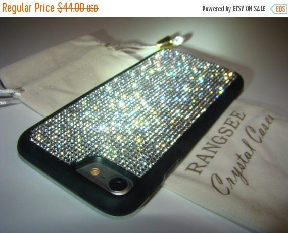 Sale iPhone 7 Case Clear Diamond Rhinestone Crystals on iPhone 7 Black Rubber Case. Velvet/Silk Pouch Bag Included, Genuine Rangsee Crystal