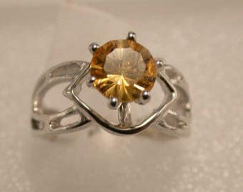 ON SALE! Sterling Silver Citrine Ring, Citrine Solitaire Ring, November Birthstone Ring