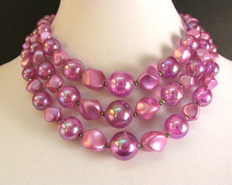 Vintage 1950s Multi Strand Necklace Raspberry Pink