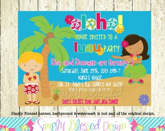 Hula Luau Party Birthday Invitation - Print Yourself File By: SimplyBlessedDesign