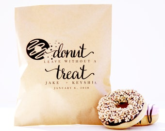 Donut Favor Bag, Wax Lined Favor Bag, Custom Favor Bag, Popcorn Bag, Dessert Table, Donut Bag, Wedding Favor, Love is Sweet, Donut Box